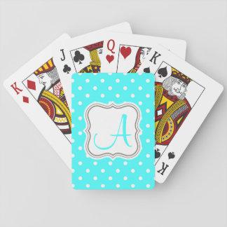 Polka dot monogram name initial elegant turquoise playing cards