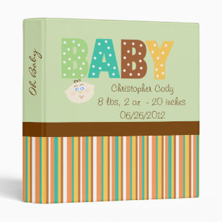 Polka Dot Multi Color Personalized Baby Shower 3 Ring Binder