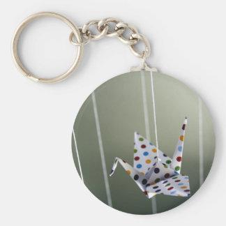 polka dot origami crane keychain