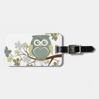 Polka Dot Owl in Tree Bag Tag