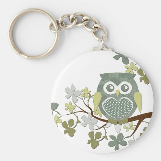 Polka Dot Owl in Tree Key Chain