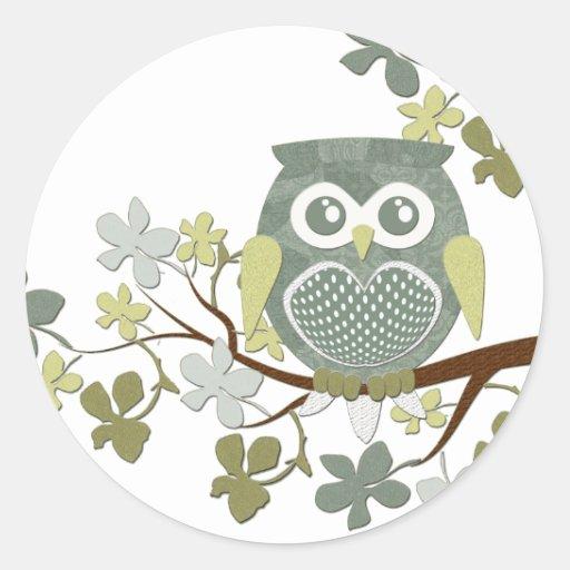 Polka Dot Owl in Tree Round Sticker