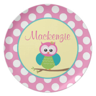 Polka Dot Owl - Personalized Melamine Plate