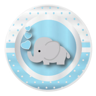 Polka Dot Pattern | Baby Blue, White and Elephant Ceramic Knob
