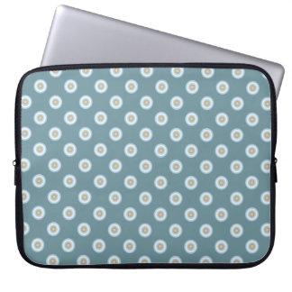 Polka Dot Pattern -Blue Brown Sand Beige Turquoise Laptop Sleeve
