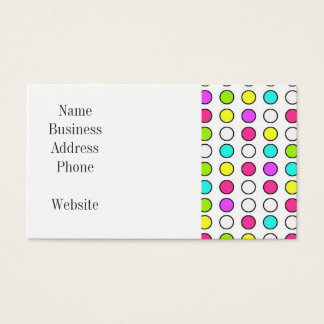 Polka Dot Pattern Pink Teal Lime Green Yellow Business Card