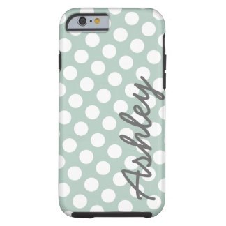 Polka Dot Pattern with name - gray mint Tough iPhone 6 Case