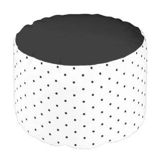 Polka Dot Pattern  Woven Cotton Round Pouf