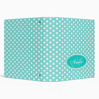 Polka dot patterned aqua mint add your name folder 3 ring binders