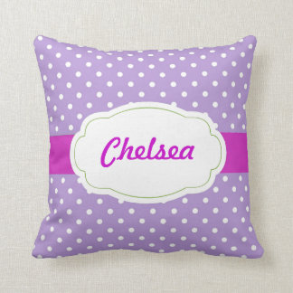 Polka Dot Personalized Throw Pillow