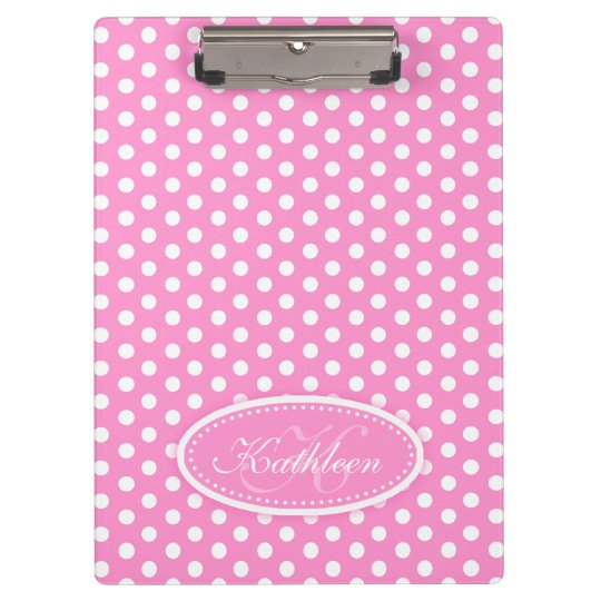 Polka dot pink add your name and initial clipboard