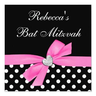 "Polka Dot Pink Black Bow Heart Bat Mitzvah 5.25"" Square Invitation Card"