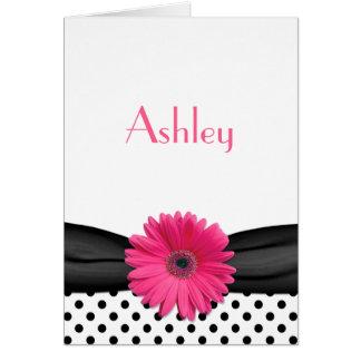 Polka Dot Pink Gerbera Daisy Bat Mitzvah Thank You Card