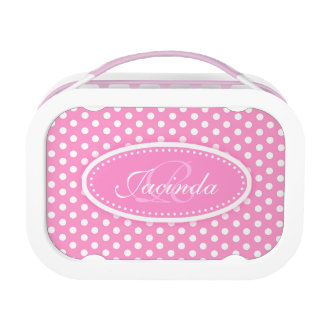 Polka dot pink girls name & monogram lunch box