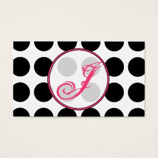 Polka Dot / Pink  Monogram Fashion Business Card