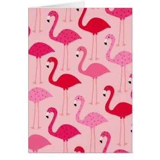 Polka Dot Pink Painted Flamingo Pattern Card
