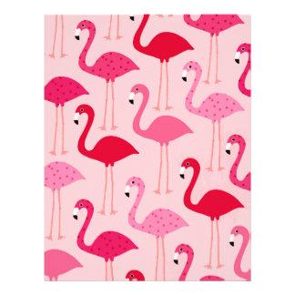 Polka Dot Pink Painted Flamingo Pattern Letterhead Template