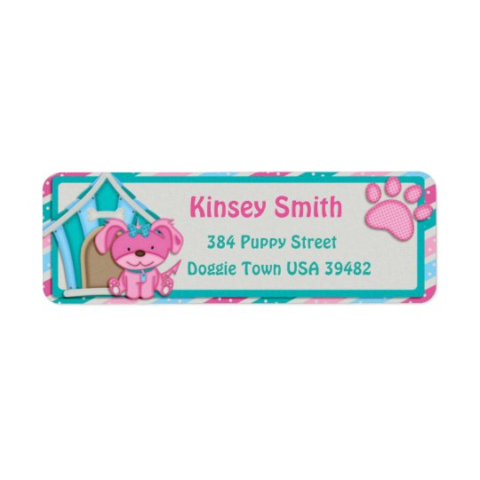 Polka Dot Pink Puppy Return Address Label