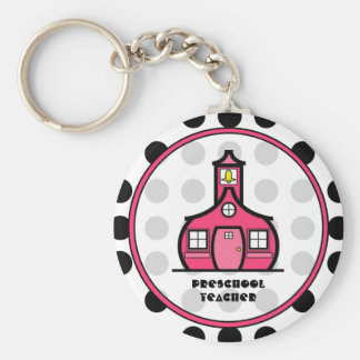 Polka Dot Preschool Teacher Keychain