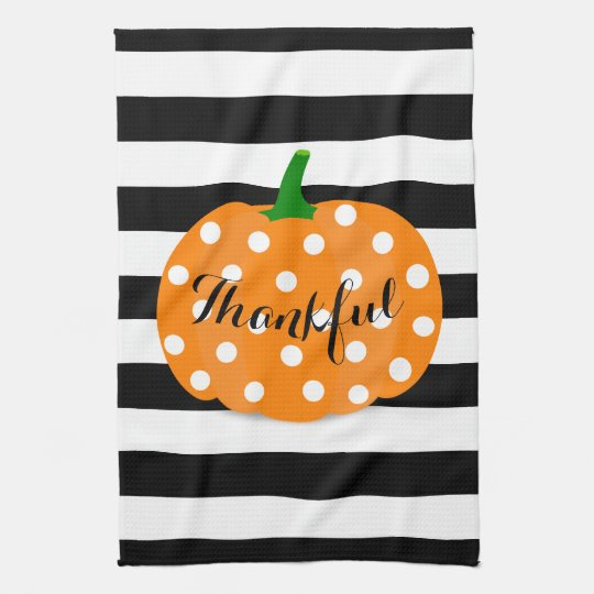Polka Dot Pumpkin Thanksgiving Kitchen Towel