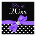 Polka Dot Purple Black Bow Heart Graduation Party Custom Invitation