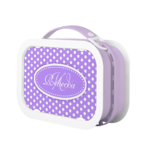 Polka dot purple girls name & monogram lunch box