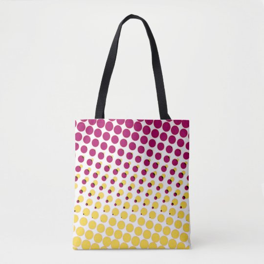 polka dot purple pink tote bag