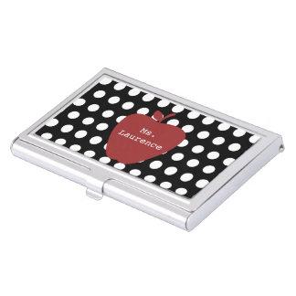 Polka Dot Red Apple Teacher Business Card Holder