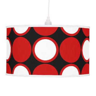 Polka dot red black white hanging pendant lamp