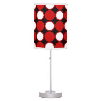 Polka dot red black white table lamp