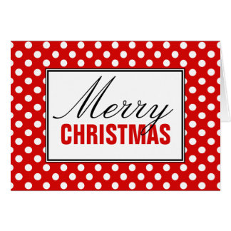 Polka Dot Red Merry Christmas Greeting Card