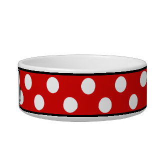 Polka Dot Red Personalized Cat Bowl