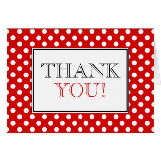 Polka Dot Red & White Thank You Card
