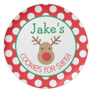 Polka Dot Reindeer - Cookies for Santa Plate