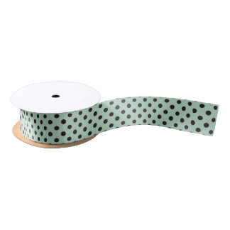 Polka Dot Ribbon Black on Pale Mint Green Satin Ribbon