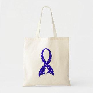 Polka Dot Ribbon Colon Cancer Budget Tote Bag