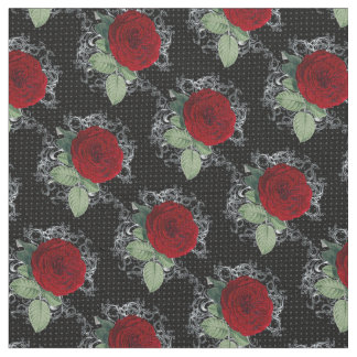 Polka Dot Roses Gothic Damask Fabric