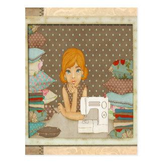 Polka Dot Seamstress Postcard