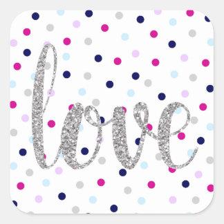 Polka dot & silver glitter love stickers