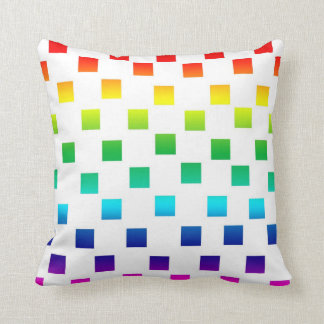 Polka Dot Squares in Rainbow on White Throw Pillow