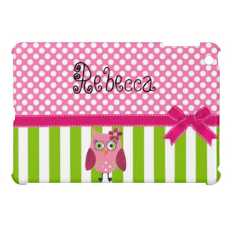 Polka Dot Striped Mini iPad Case with Cute Owl