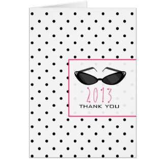 Polka Dot & Sunglasses Graduation Thank You Greeting Card