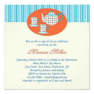 "Polka Dot Tea Pot Bridal Shower Invitation 5.25"" Square Invitation Card"