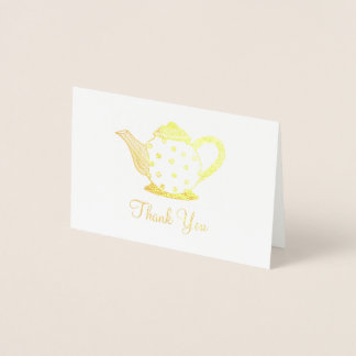 Polka Dot Tea Pot Teapot Shower Thank You Note Foil Card