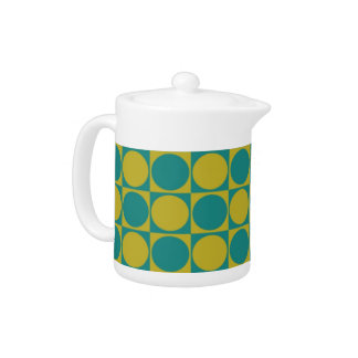 Polka Dot Teal and Olive Porcelain Teapot