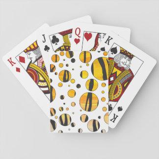 Polka Dot Tiger Black and Orange Print Poker Deck