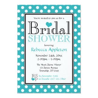 Polka Dot Turquoise Heart Bridal Shower Invitation