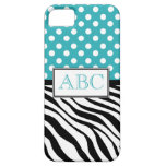 Polka Dot Turquoise & Zebra Print iPhone 5 Case