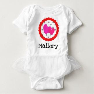 Polka Dot Valentine Pink Red Initial Monogram Baby Bodysuit