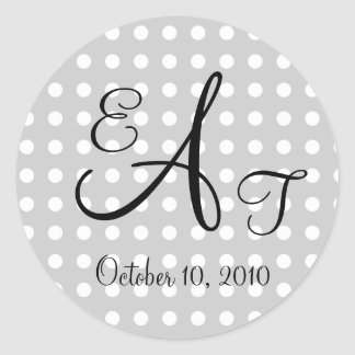 Polka Dot Wedding Monogram Classic Round Sticker